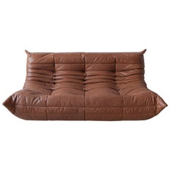 Togo 3-Seat Sofa in Kentucky Brown Leather by Michel Ducaroy for Ligne Roset
