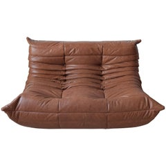 Togo 2-Seat Sofa in Kentucky Brown Leather by Michel Ducaroy for Ligne Roset