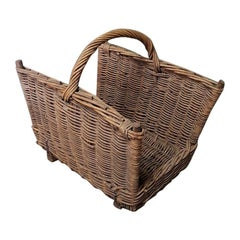 First Half of the 20th Century French Handwoven Wicker Paper Holder