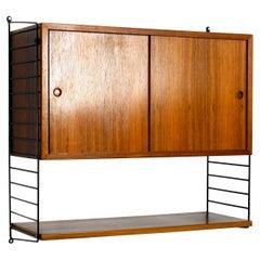 Original 1960s Nisse Strinning Teak String Shelf with Sliding Door Cupboard