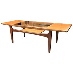 Rectangular Midcentury Teak and Glass Coffee Table by G-Plan