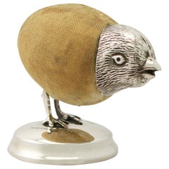 Antique Edwardian Sterling Silver 'Chick' Pin Cushion