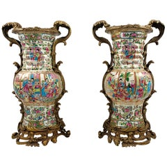 20th Century Pair of Cantonese Ormolu Mounted Vases