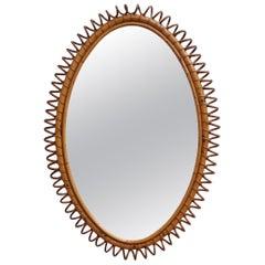 Italian Oval-Shaped Rattan Wall Mirror, circa 1960s