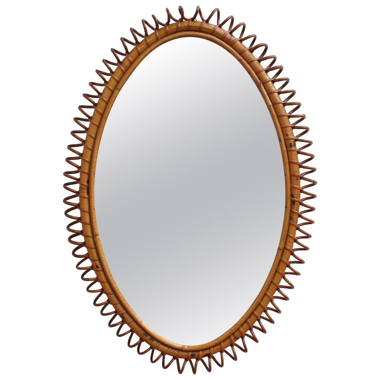 Italian Oval-Shaped Rattan Wall Mirror, circa 1960s For Sale