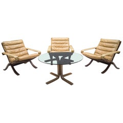Set of 3 Leather Flex Safari Chairs and 1x Coffee Table by Ingmar Relling