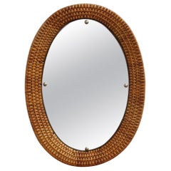 Italian Wicker Rattan Oval-Shaped Wall Mirror, circa 1960s