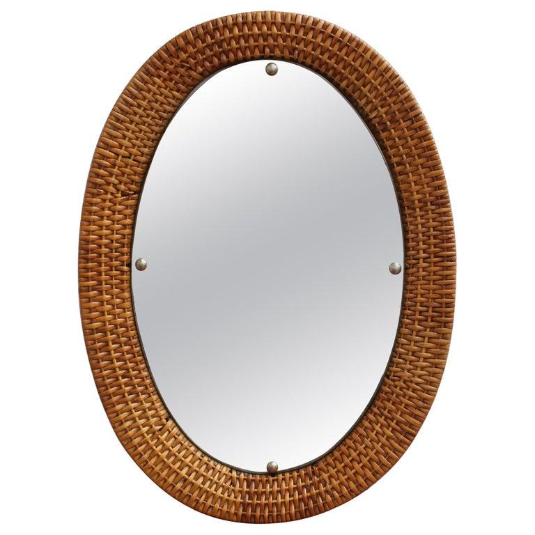 Italian Wicker Rattan Oval-Shaped Wall Mirror, circa 1960s For Sale