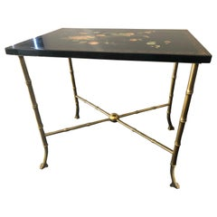 Vintage Coffee Table in the Style of Jansen Bronze and Lacquered Tray, 1960