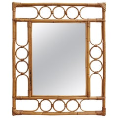 Rectangular Vintage French Rattan Mirror, 'circa 1960s'