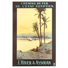 Original Antique Railway Travel Poster Winter in Aswan Egypt River Nile Assouan