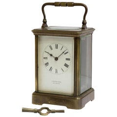 French Carriage Clock Timepiece with Enamel Dial by A. Reynoldson Salisbury