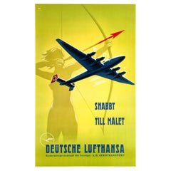 Original Vintage Travel Poster Advertising Deutsche Lufthansa Snabbt till Målet