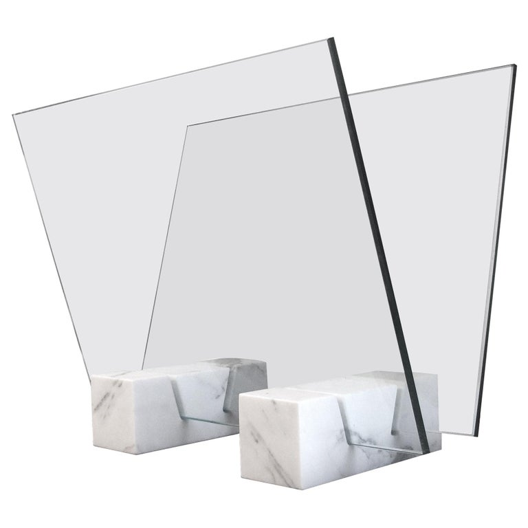 Marble and Glass Magazine Stand For Sale