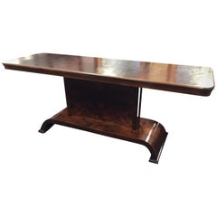 1920s Walnut and Poplar Art Deco Burl Wood Console Table from Italy