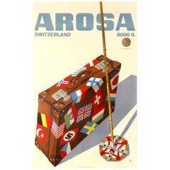 Original Vintage Winter Sport Travel Poster Arosa Switzerland Gold Medal Award