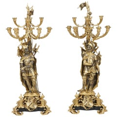 Pair of Antique Bronze Candelabra of Chivalrous Knights