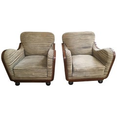 Pair of Italian Art Deco Armchairs in Briar Root and Original Fabric, 1940s