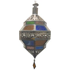 Handcrafted Moroccan Metal and Multi-Color Glass Lantern Octagonal Diamond Shape