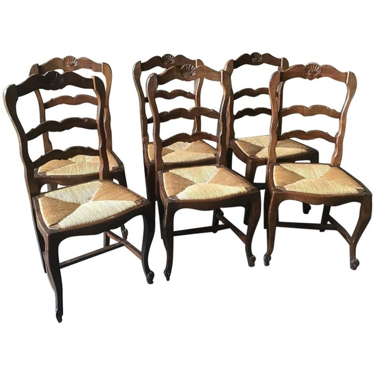 19th Century Italian Set of Six Dining Chairs with Straw Seat, 1890s For Sale