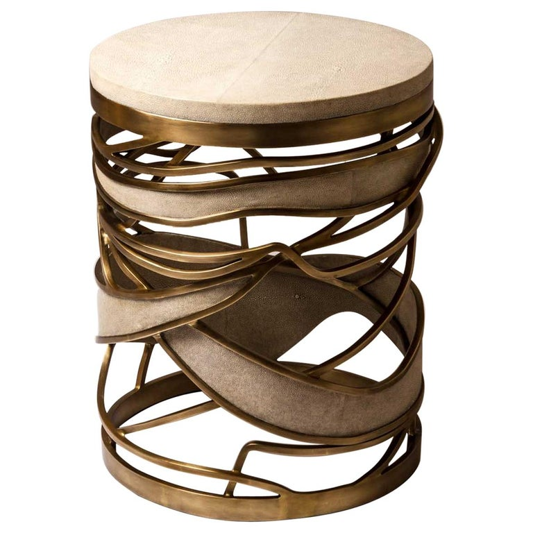 Galaxy Stool/Side Table in Cream Shagreen and Bronze-Patina Brass by Kifu, Paris For Sale