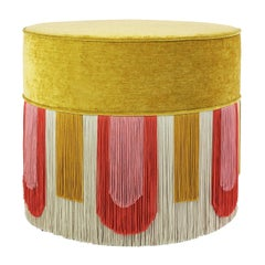 Couture Geometric Deco Yellow Pouf