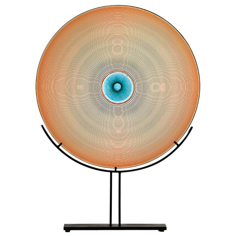 Glass Sculpture, Round, in Coral Apricot with Aqua Blue and Gold, by Vetro Vero For Sale