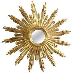 Mid Century French Wooden Sunburst Mirror