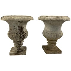 19th Century Pair of Carrara Marble Campana Shaped Garden Urns