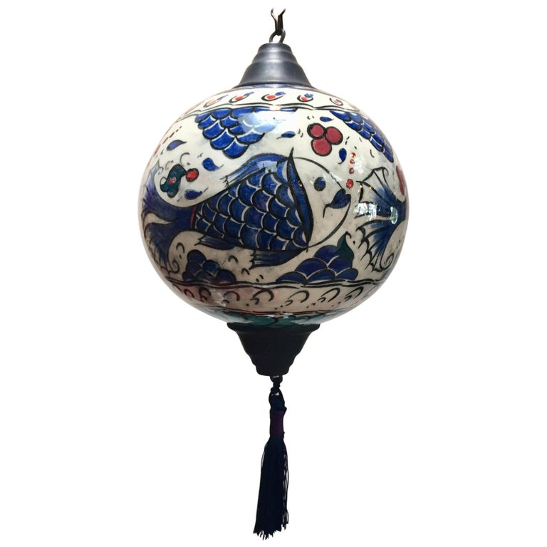 Turkish Kutahya Pottery Hanging Ornaments Polychrome Hand Painted Ceramic For Sale
