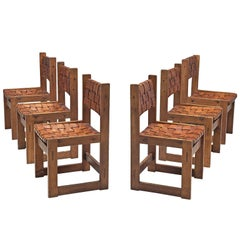 Scandinavian Set of Dining Chairs with Leather Woven Seats