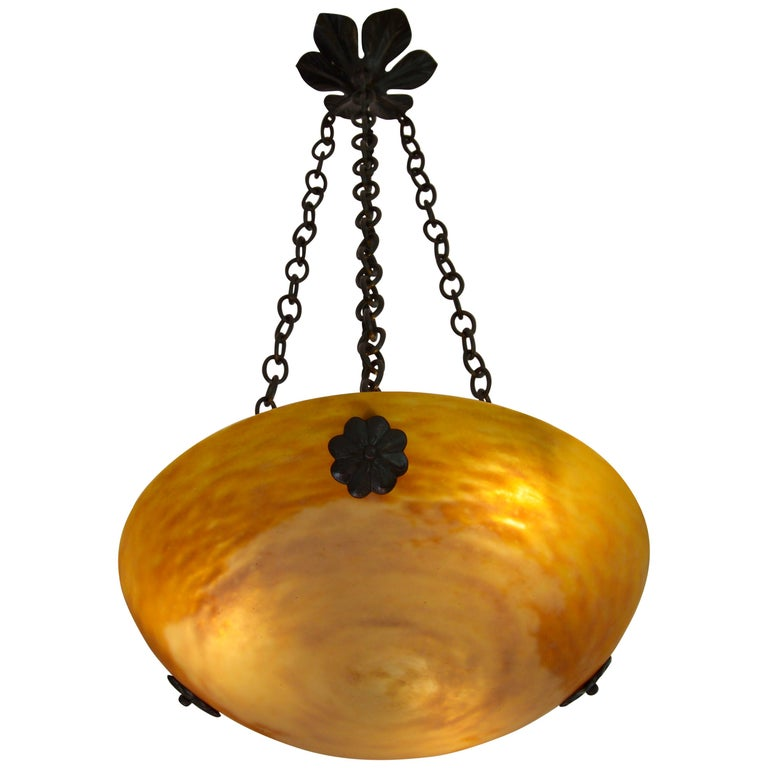 Daum French Art Nouveau / Deco Pendant Chandelier, 1900-1905 For Sale