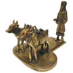 Brass Temple Oil Lamps Figures a Two Cows and Holly Man Standing