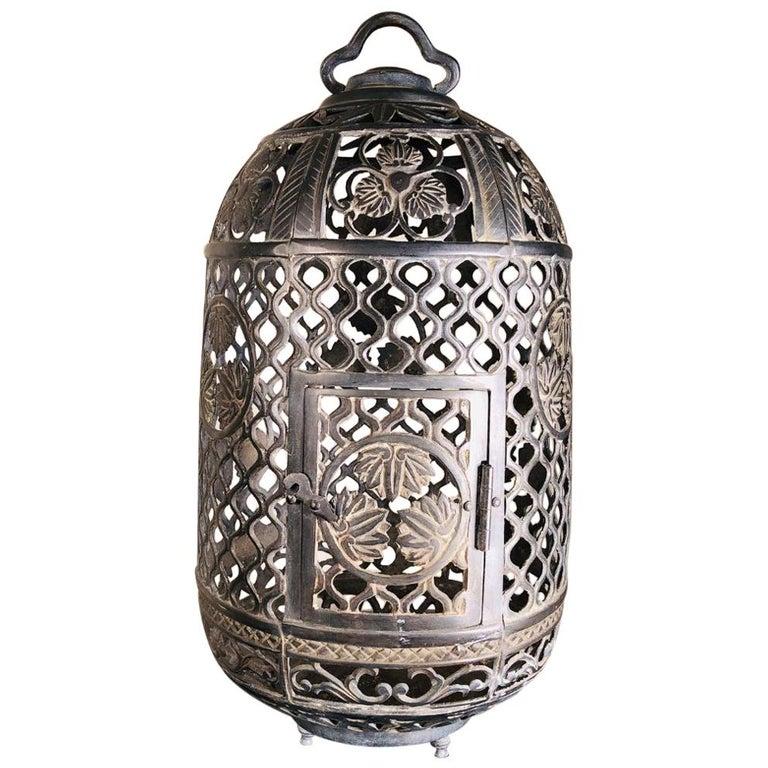 "Japanese Fine Antique Bronze ""Flowers & Bamboo"" Umbrella Lantern 100 Yrs Old For Sale"