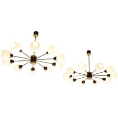 Set of Seven Large Brass and Opal Sputnik Chandeliers