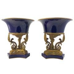 20th Century Pair of Ormolu Mounted French Empire Bleu De Roi Porcelain Urns