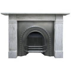 Antique late Victorian Carrara Marble Fireplace Surround