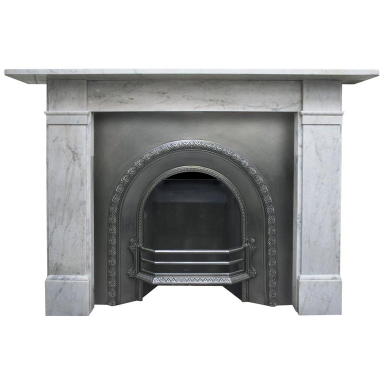 Antique late Victorian Carrara Marble Fireplace Surround For Sale