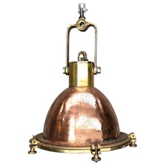 Midcentury German Copper, Cast Brass and Glass Industrial Marine Pendant Light
