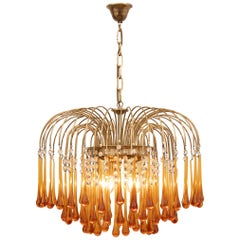 1960s Italian Brass and Murano Amber Glass Tear Drop Chandelier by Paolo Venini