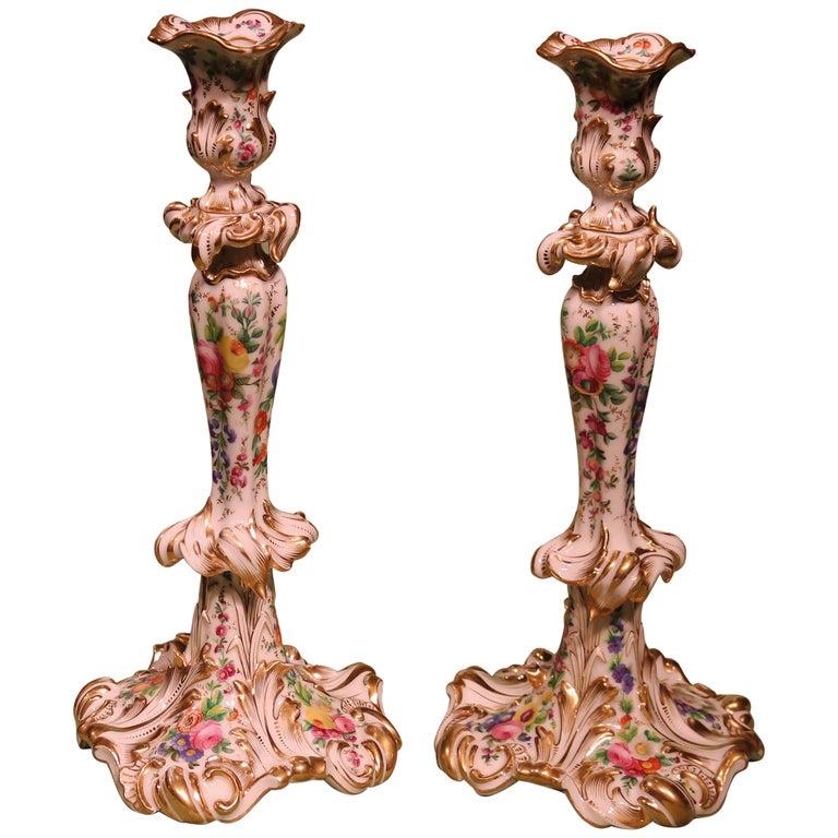 19th Century Rococo Paris Porcelain Candlesticks For Sale