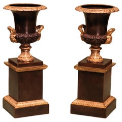 19th Century Regency Bronze and Ormolu Campana Urns