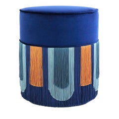 Couture Geometric Deco Blue Pouf