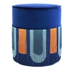 Couture Geometric Deco Blue Pouf
