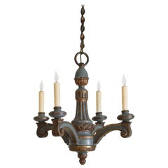 French LXVI Style Carved and Painted Wooden 4-Light Chandelier