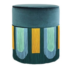 Couture Geometric Decò Green Pouf