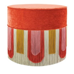 Couture Geometric Deco Orange Ottoman