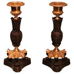 19th Century Regency Bronze and Ormolu Gothic Flower Candlesticks
