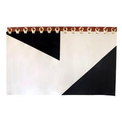 King Ingles Wall Tapestry Headboard by Moses Nadel in Black, Cream and Gold