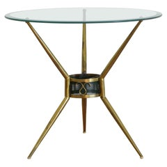 Continental Brass and Glass Side Table, 3rd Quarter of the 20th Century